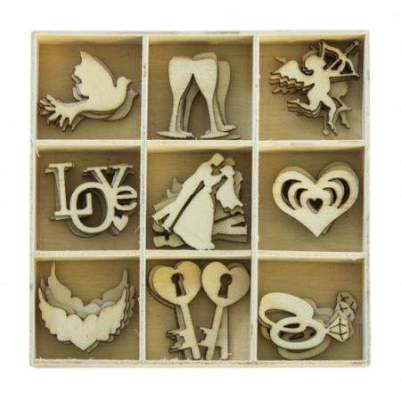 Ozdoba dekoracyjna drewniana ślubne akcenty 45szt ARGO 253002
