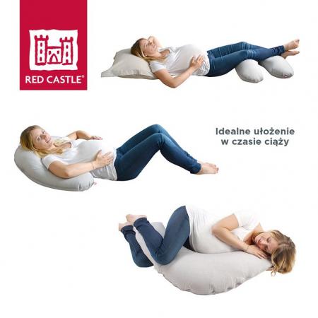 Ergonomiczna poduszka rogal dla kobiet w ciąży i karmiących Big Flopsy Fleur de coton Chalk pink, Red Castle