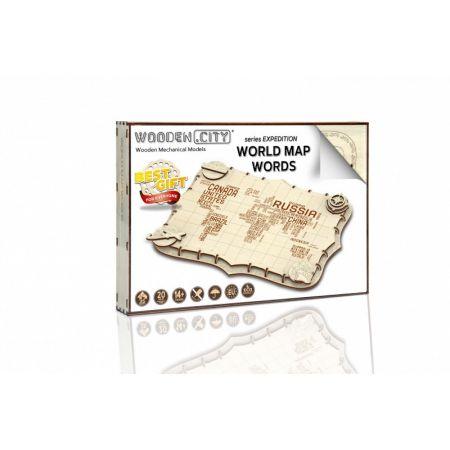 Drewniane puzzle 3D Ekspedycyjna mapa Świata 2