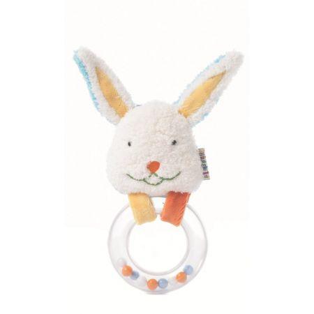 Grzechotka z kółeczkiem - króliczek - 13cm