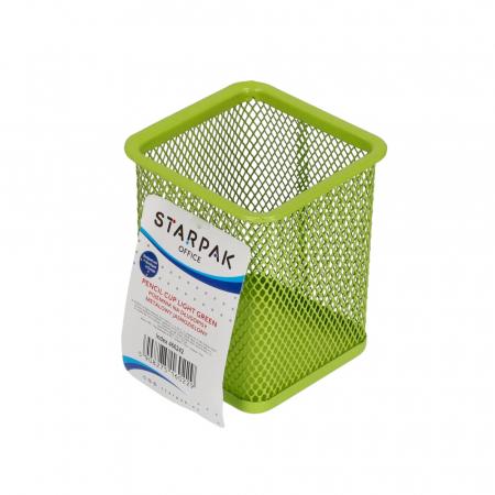 Pojemnik na długopisy metalowy kwadrat zielony KD804S ZIE 466242 STARPAK