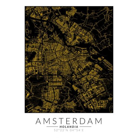 Amsterdam złota mapa. Plakat