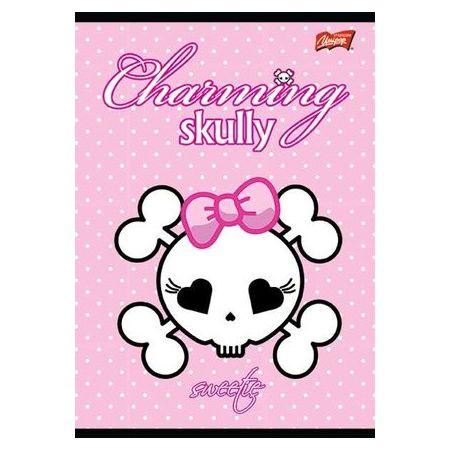 Zeszyt A5 laminowany w kratkę 32 kartki Charming Skully UNIPAP