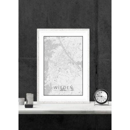 Wiedeń mapa czarno biała - plakat