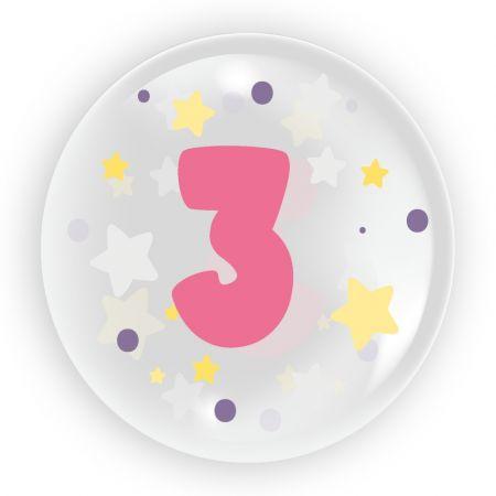 Balon 45cm dla dziewczynki cyfra 3 TUBAN