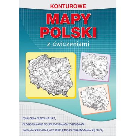 Konturowe mapy Polski z ćwiczeniami