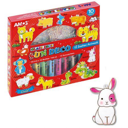 Farby witrażowe 10 kolorów zwierzęta AMOS