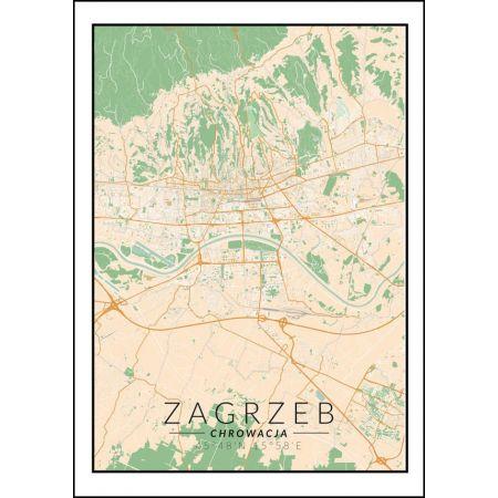 Zagrzeb mapa kolorowa - plakat
