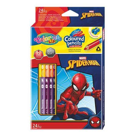 Kredki ołówkowe trójkątne Colorino Kids 24 kolorów 12 sztuk z temperówką Spiderman