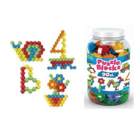 Klocki puzzle - słoik 90 elementów
