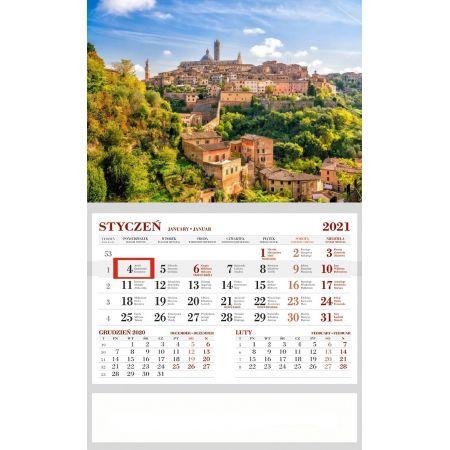 Kalendarz 2021 Ścienny Jednodzielny Siena