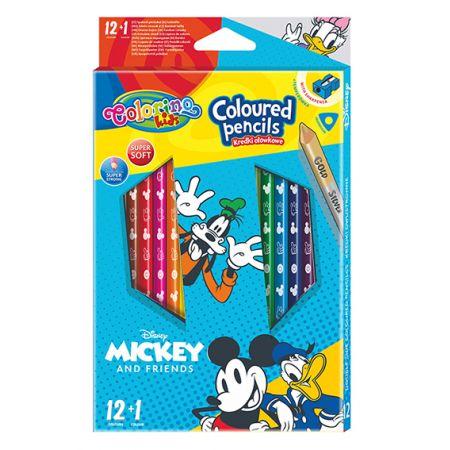 Kredki ołówkowe trójkątne Colorino Kids + temperówka Mickey
