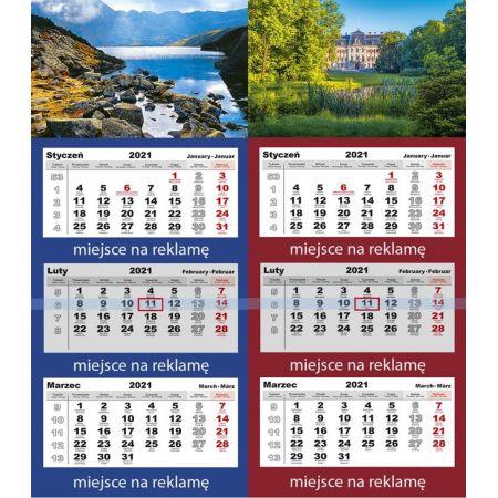 Kalendarz 2021 Trójdzielny z główką LUX mix PP