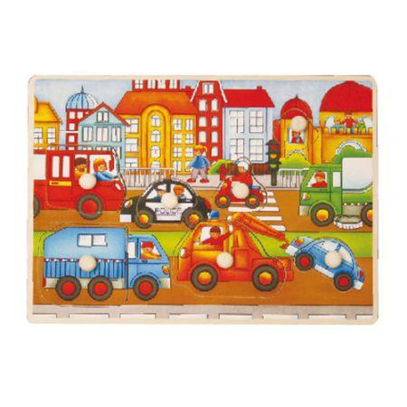 Puzzle drewniane z pinezkami miasto Playme