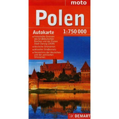 Polen mapa samochodowa wersja niemiecka