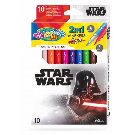Flamastry dwustronne Colorino Kids 10 kolorów Star Wars