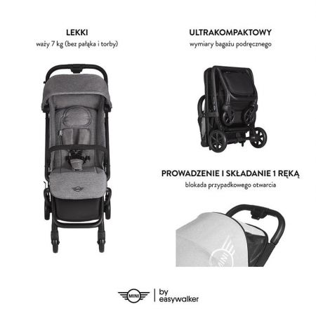 MINI by Easywalker Buggy GO Kompaktowy wózek spacerowy ze zintegrowaną torbą transportową Soho Grey