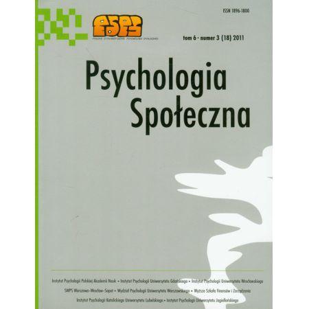 Psychologia społeczna t.6 3 (18) 2011