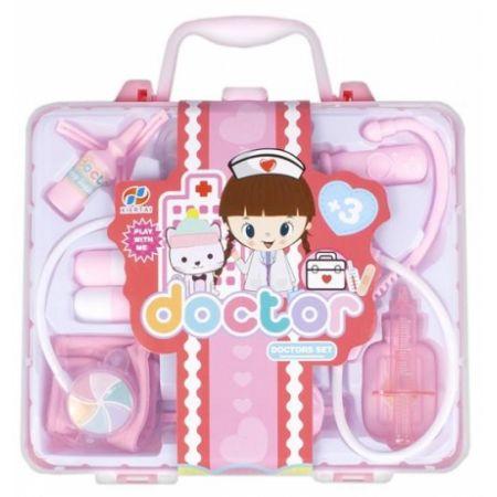 Różowy zestaw lekarski w walizce
