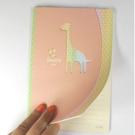 Zeszyt w linie żyrafa różowy