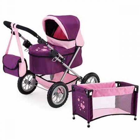 Bayer Wózek głęboki dla lalki Trendy Set fioletowo-różowy 13057AB