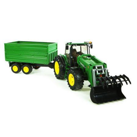 Traktor John Deere 7930 z ladowarka i przyczepa