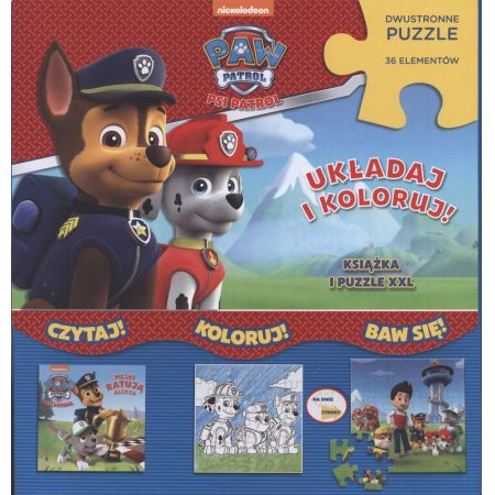 Psi Patrol. Układaj i koloruj. Książka i puzzle