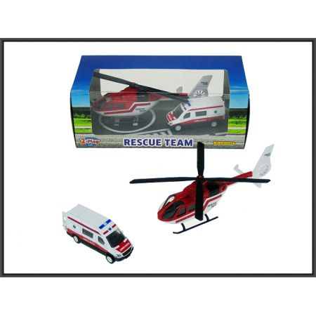 Karetka 8cm Helikopter 16cm ratunkowy metal