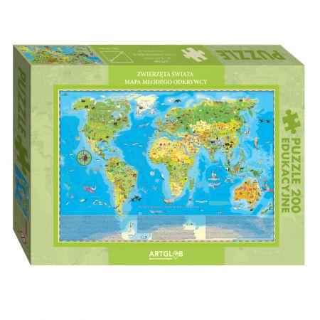 Puzzle 200 Zwierzęta Świata Młodego Odkrywcy