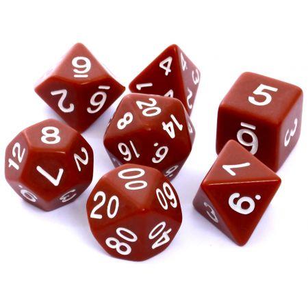 Komplet kości  RPG - Matowe - Brązowe