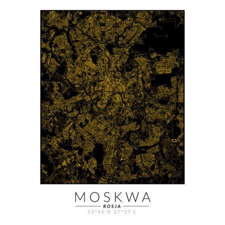 Plakat złota mapa Moskwa