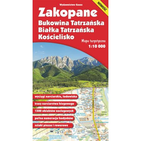 Mapa. Zakopane, Bukowina Tatrzańska, Białka Tatrzańska i Kościelisko 1:10 000