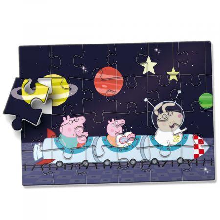 Puzzle podłogowe. Świnka Peppa w kosmosie. 24 elementów