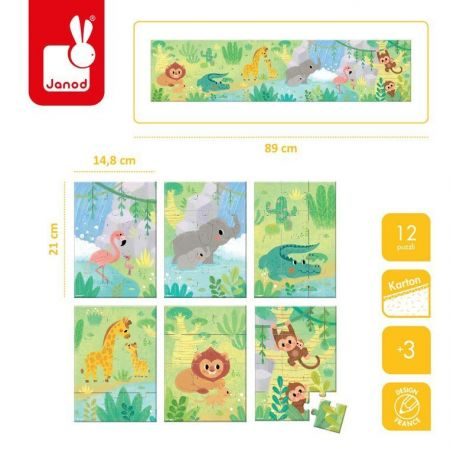 Mini puzzle do kolekcjonowania Zwierzątka 12 el. 3+, opakowanie zbiorcze 12 sztuk (2 x 6 wzorów), Janod