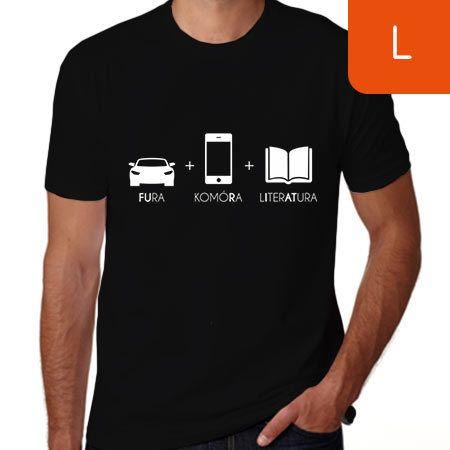 15d8925a9d9f1f TanioKsiążkowa koszulka męska. Fura + Komóra + Literatura. Czarna. Rozmiar L