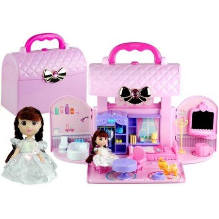 073764397132d Rozkładany domek w walizce lalka pies dodatki róż zabawka w ...