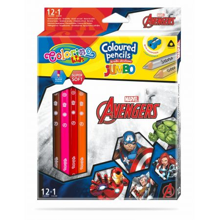 Kredki ołówkowe trójkątne jumbo Colorino Kids 13 kolorów 12 sztuk z temperówką Avengers