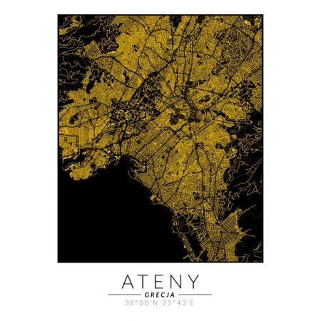 Ateny złota mapa. Plakat