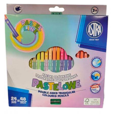 Kredki ołówkowe dwustronne pastelowe 24=48 ASTRA