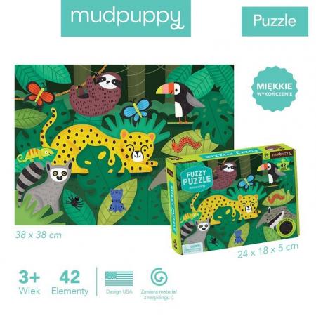 Puzzle sensoryczne z miękkimi aplikacjami Tropikalny las 3+