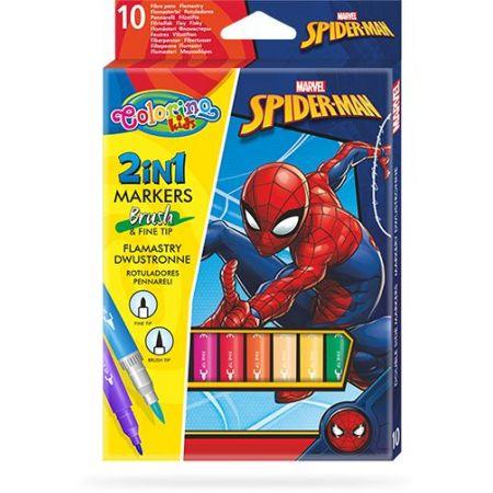 Flamastry dwustronne Colorino Kids 10 kolorów Spiderman