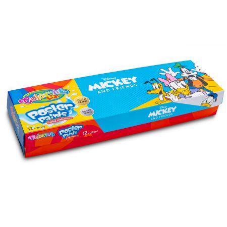 Farby plakatowe Colorino Kids mix 20 ml 12 kolorów Mickey