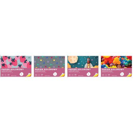 Papier kolorowy samoprzylepny B5/8 kartek (mix wzorów)