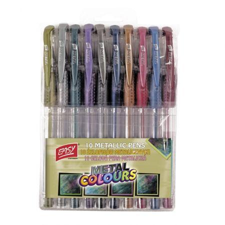 Długopis żelowy metaliczny 10 kolorów EASY
