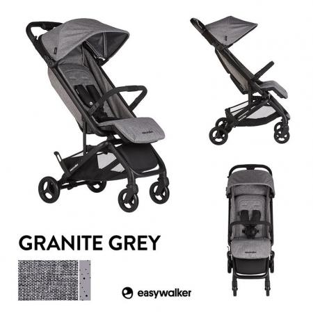 Easywalker Miley Kompaktowy wózek spacerowy ze zintegrowaną torbą transportową Granite Grey
