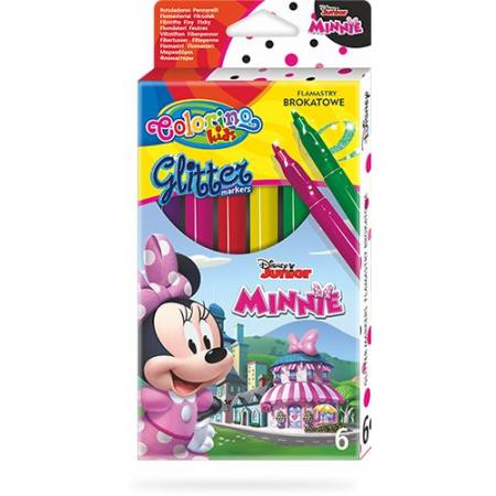 Flamastry brokatowe Colorino Kids 6 kolorów Minnie