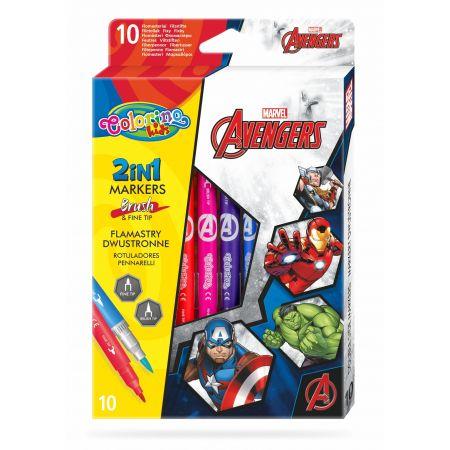 Flamastry dwustronne Colorino Kids 10 kolorów Avengers