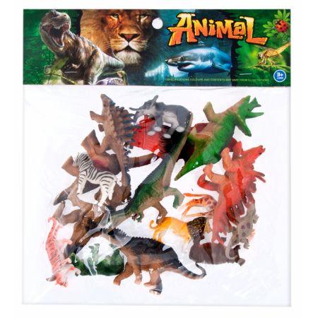 Dinozaury/Dzikie zwierzęta figurki op 15 szt. MEGA CREATIVE 461324