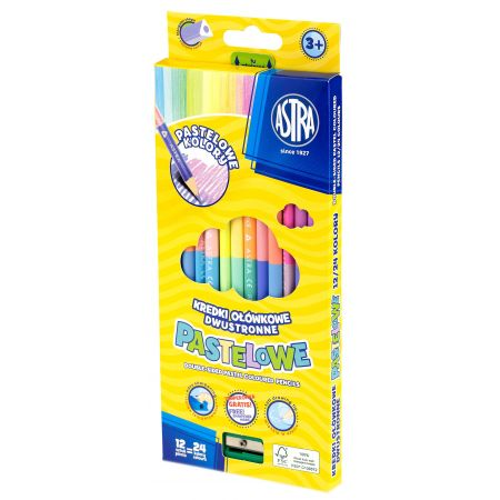 Kredki ołówkowe dwustronne pastelowe