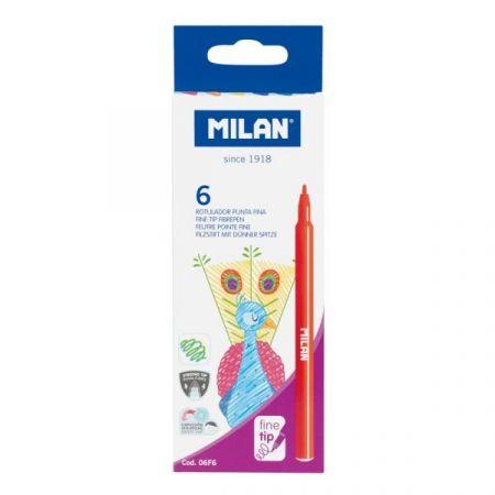 Flamastry Milan okrągłe z cienką końcówką 6 kolorów w kartonowym opakowaniu